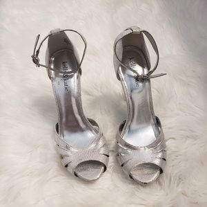 Kelly and katie silver open toe heels. Size 7.5